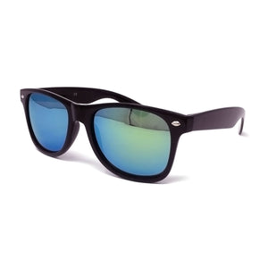 Wholesale Kids Classic Sunglasses - Black Frame, Green Gold Mirrored Lens