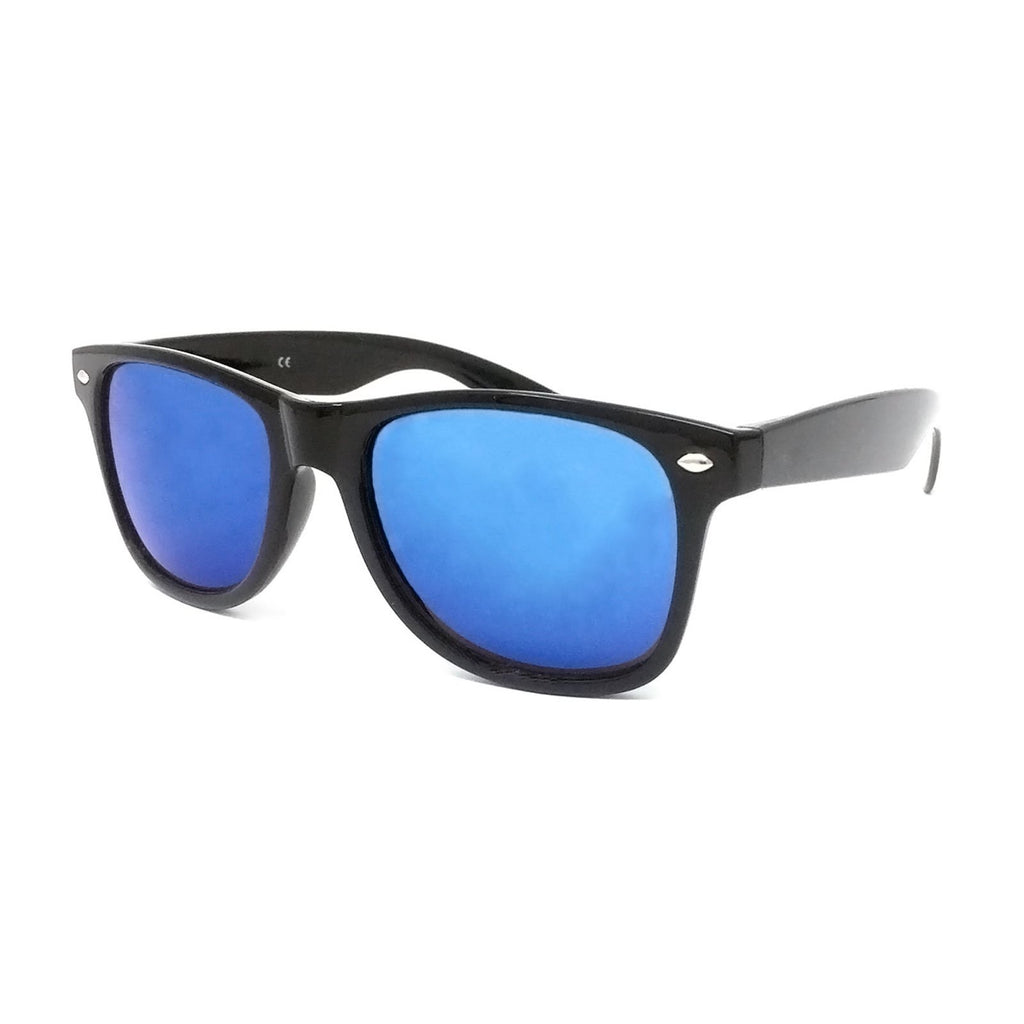 Wholesale Kids Classic Sunglasses - Black Frame, Ice Blue Mirrored Lens