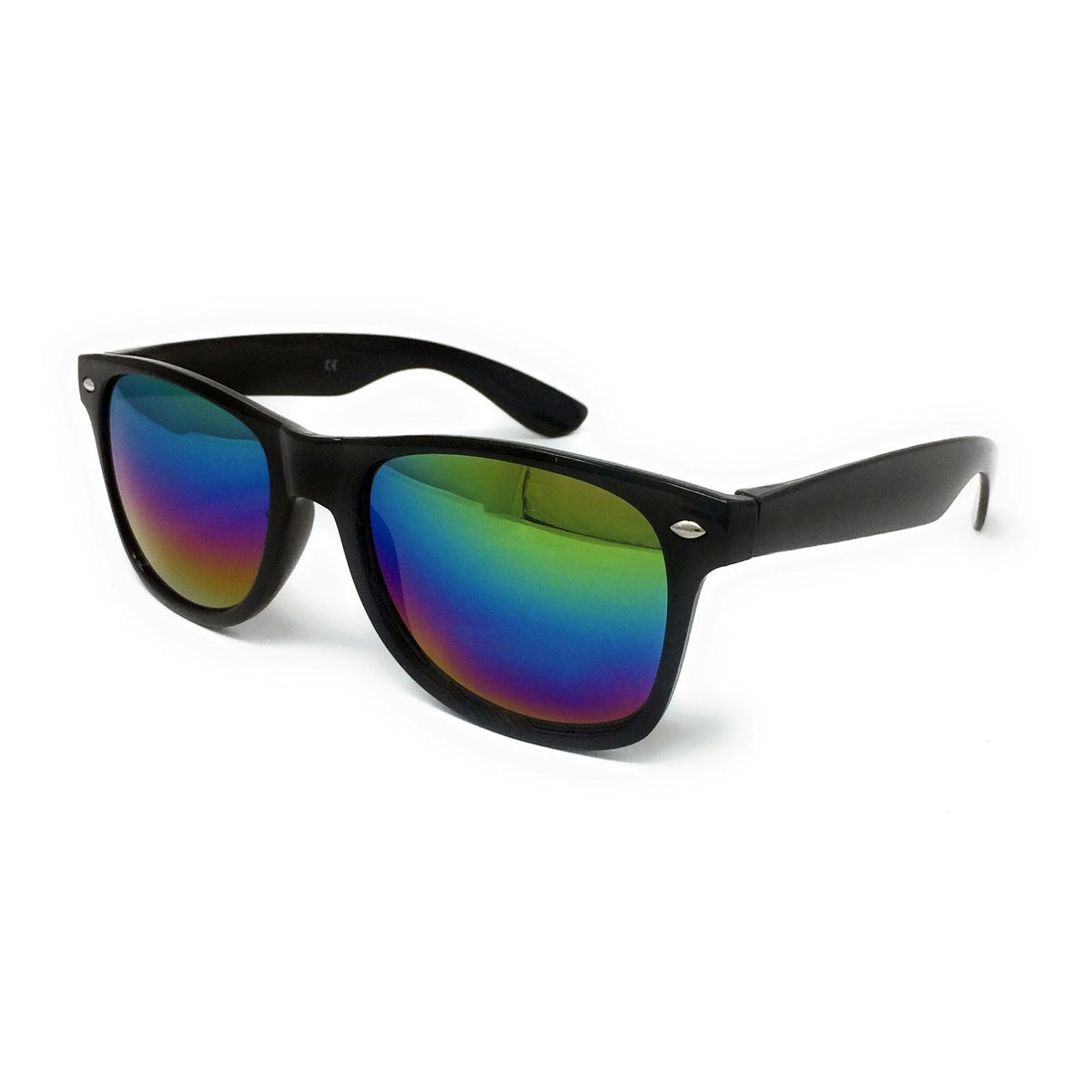 Wholesale Wayfarer Sunglasses - Black Frame, Rainbow Mirrored Lens