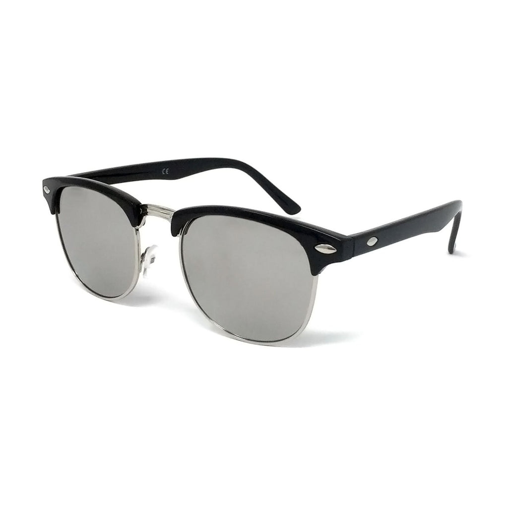 Wholesale 1950s Half Rim Sunglasses - Black Frame, Silver Mirrored Lens