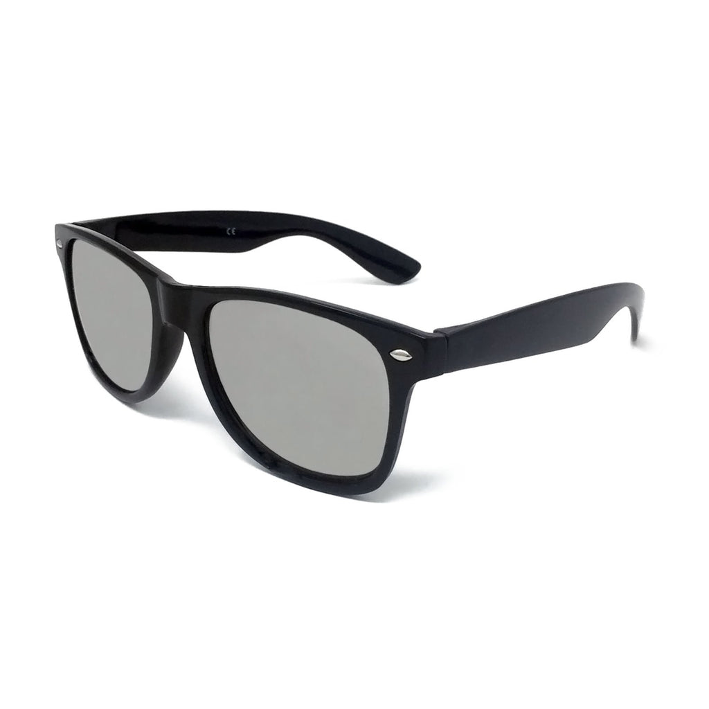Wholesale Kids Classic Sunglasses - Black Frame, Silver Mirrored Lens