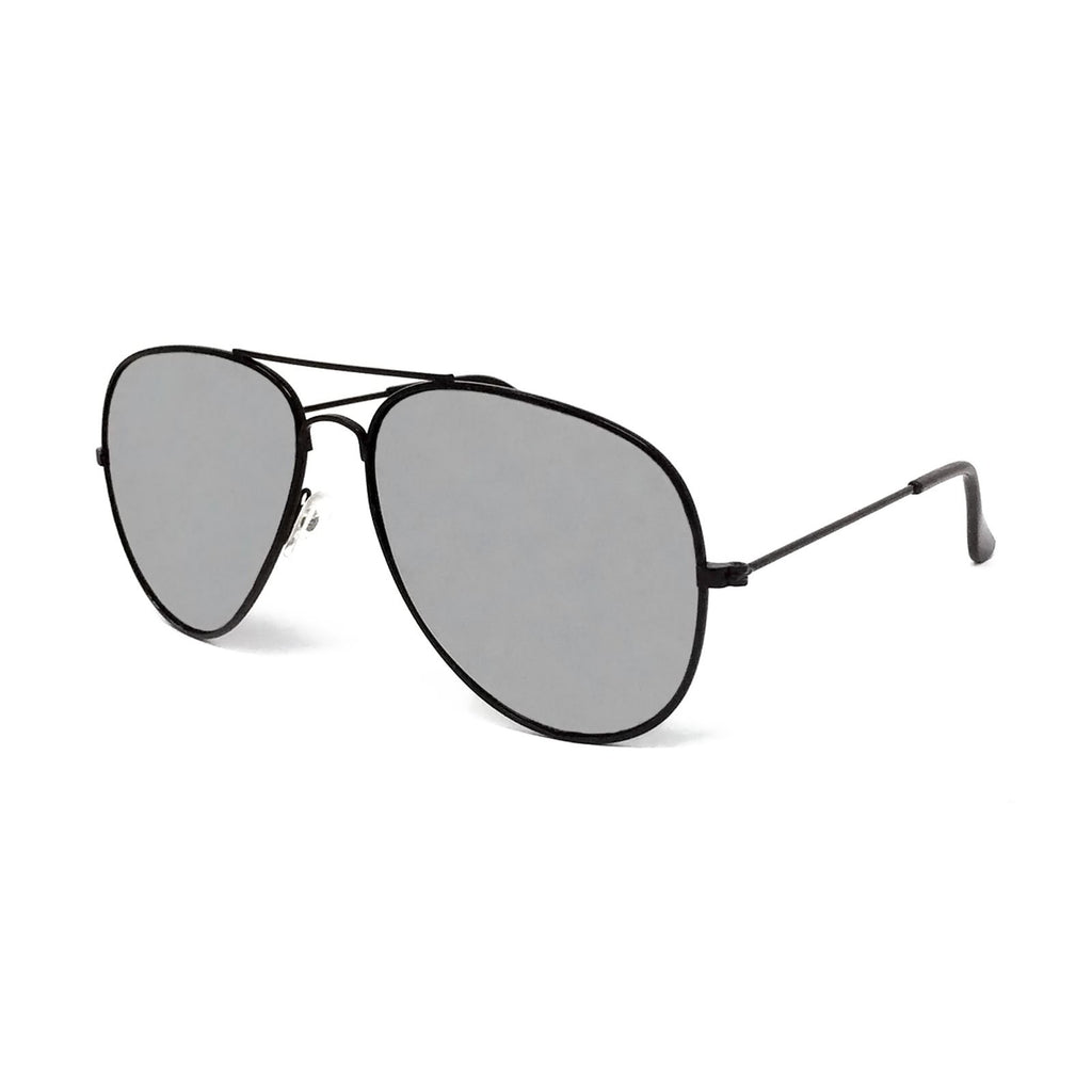 Wholesale Metal Frame Classic Sunglasses - Black Frame, Silver Mirrored Lens
