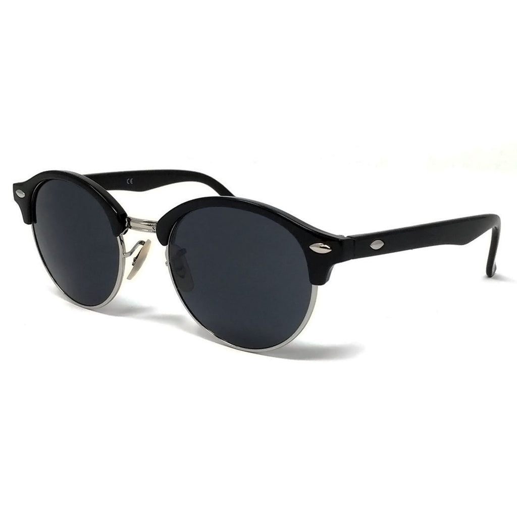 Wholesale Large Round Lens Sunglasses - Black Frame, Black Lens