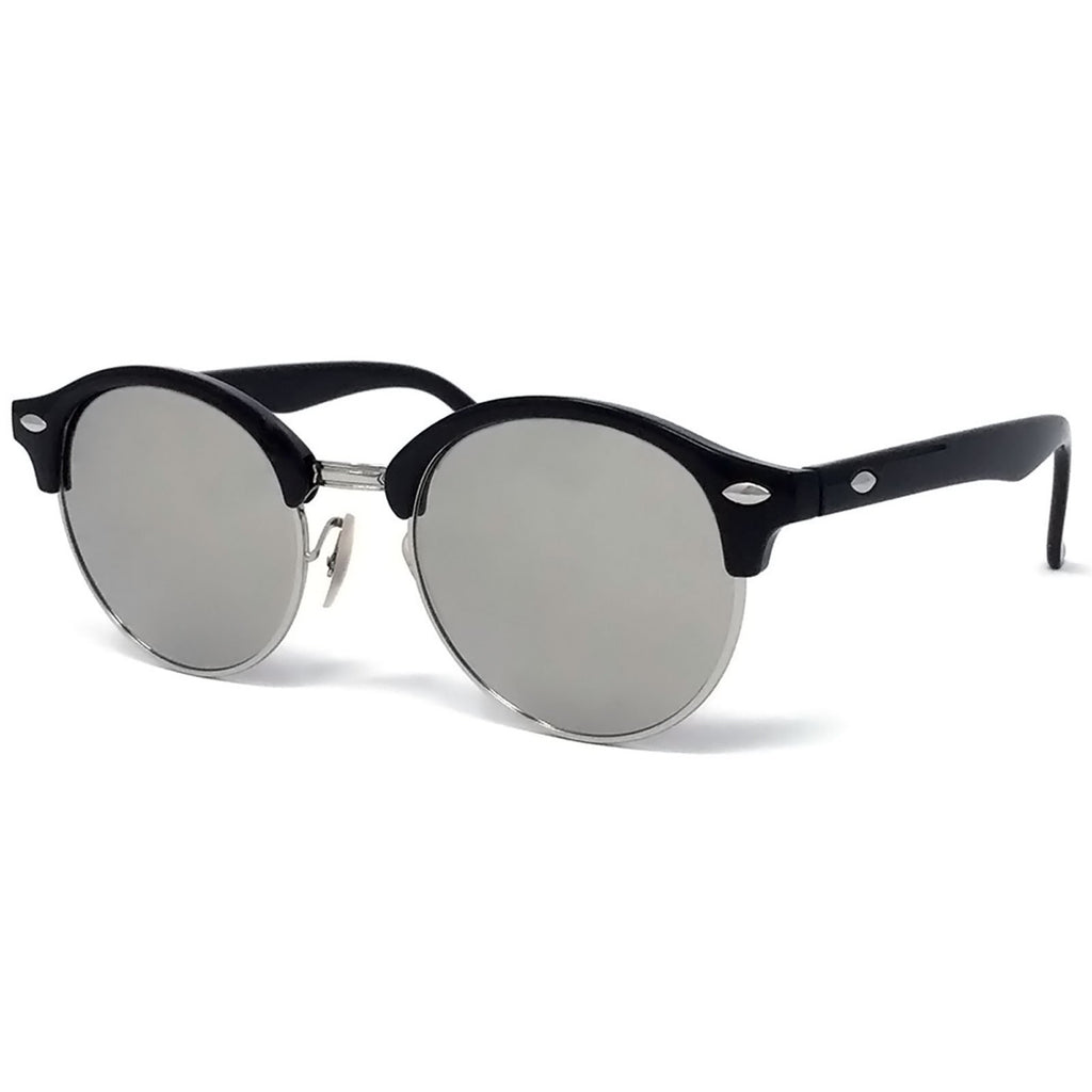 Wholesale Large Round Lens Sunglasses - Silver Frame, Silver Mirrored Lens