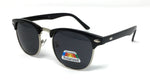 Polarised 1950s Half Rim Sunglasses - Black Frame, Black Lens