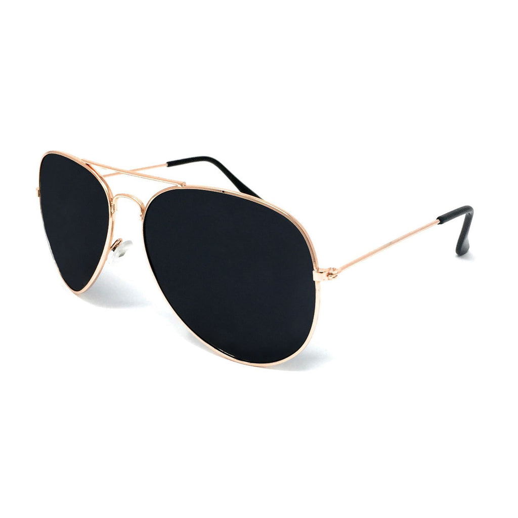 Wholesale Metal Frame Classic Sunglasses - Gold Frame, Black Lens