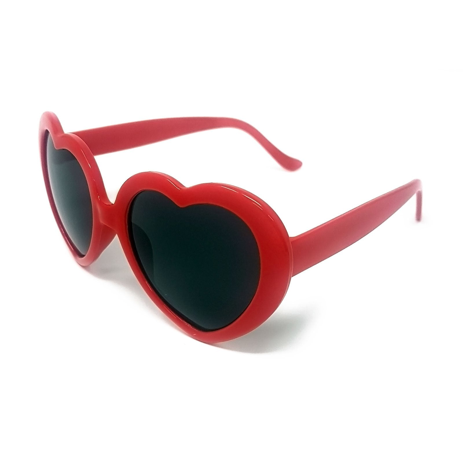 Wholesale Heart Shape Sunglasses - Red Frame, Black lens