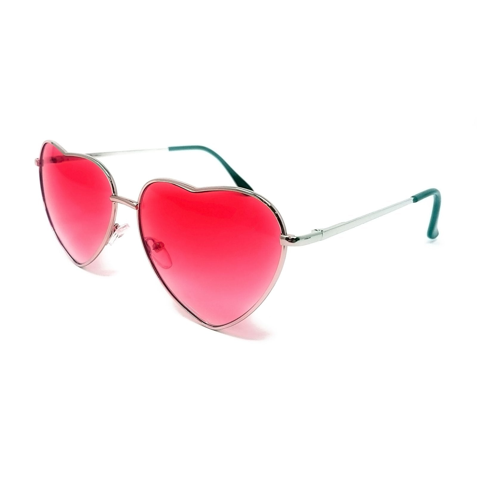 Wholesale Heart Shape Sunglasses - Silver Frame, Hot Pink Gradient Lens