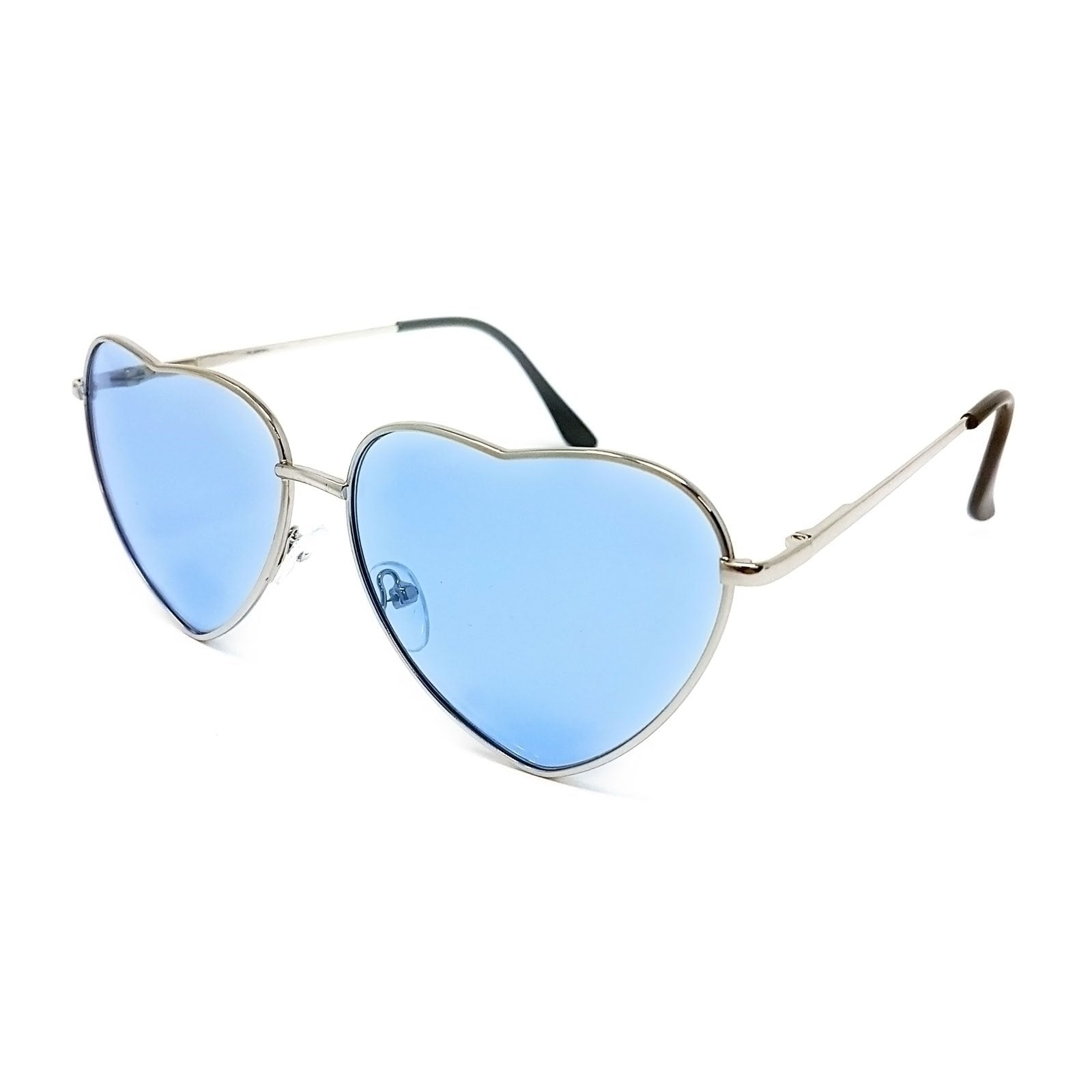 Wholesale Heart Shape Sunglasses - Silver Frame, Light Blue Lens
