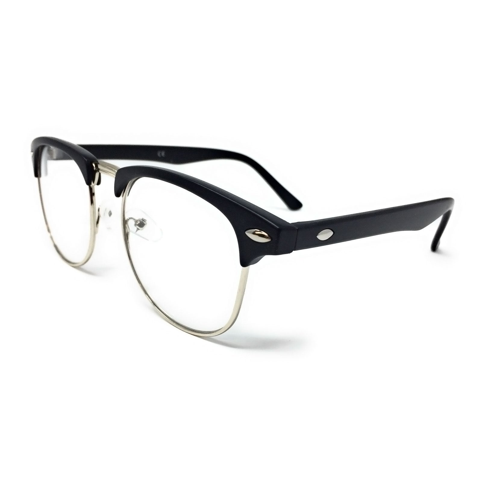 Wholesale Kids 1950s Half Rim Clear Lens Glasses - Matte Black Frame