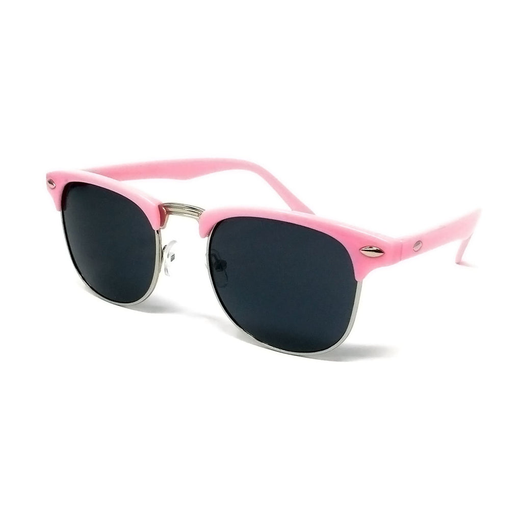 Wholesale 1950s Half Rim Sunglasses - Light Pink Frame, Black Lens