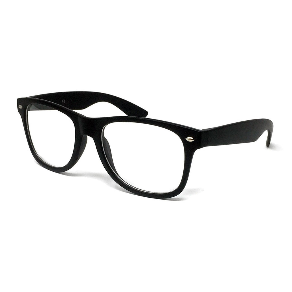 Wholesale Kids Classic Clear Lens Glasses - Matte Black Frame