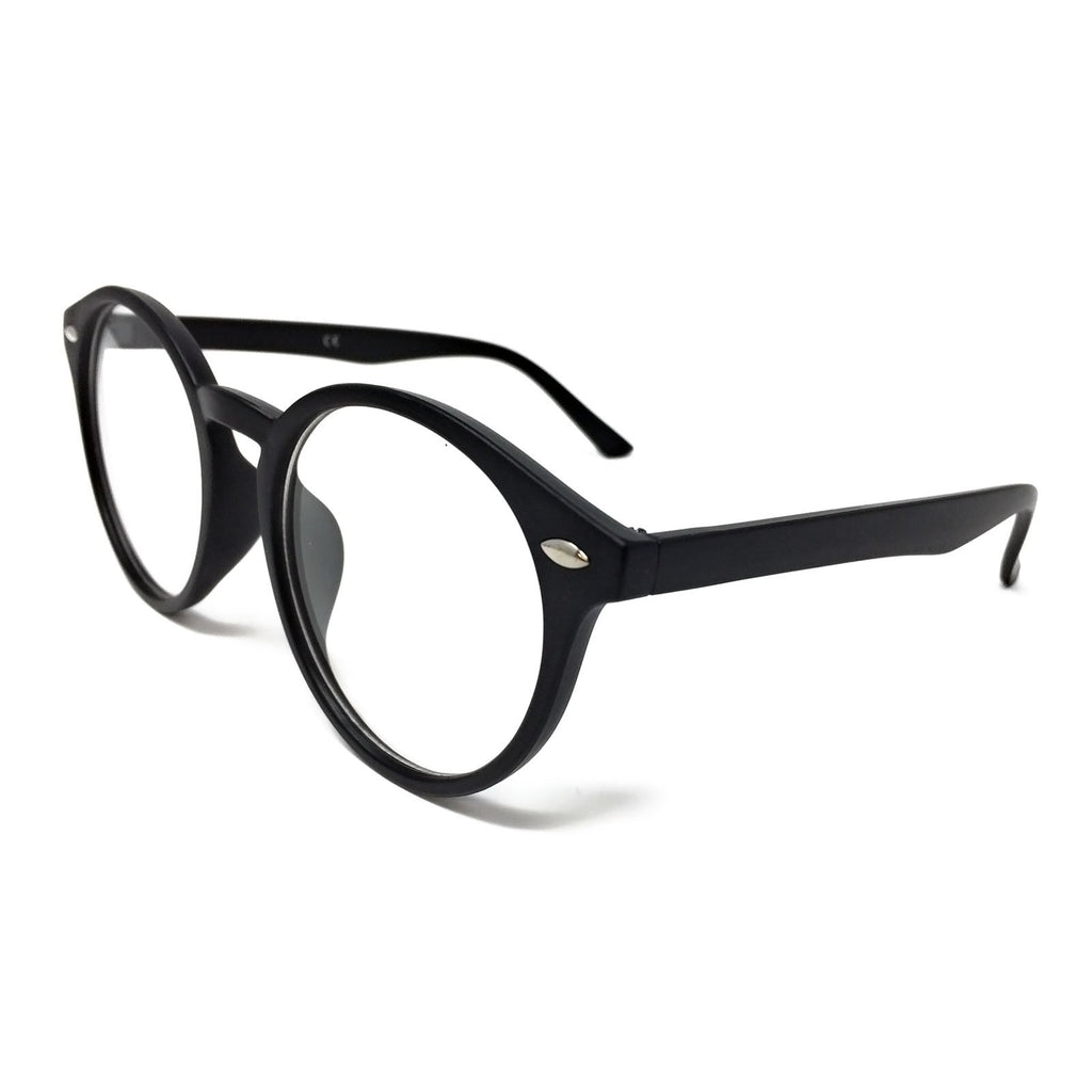 Wholesale Large Round Clear Lens Glasses - Matte Black Frame