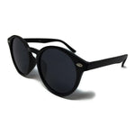 Wholesale Large Round Lens Sunglasses - Matte Black Frame, Black Lens