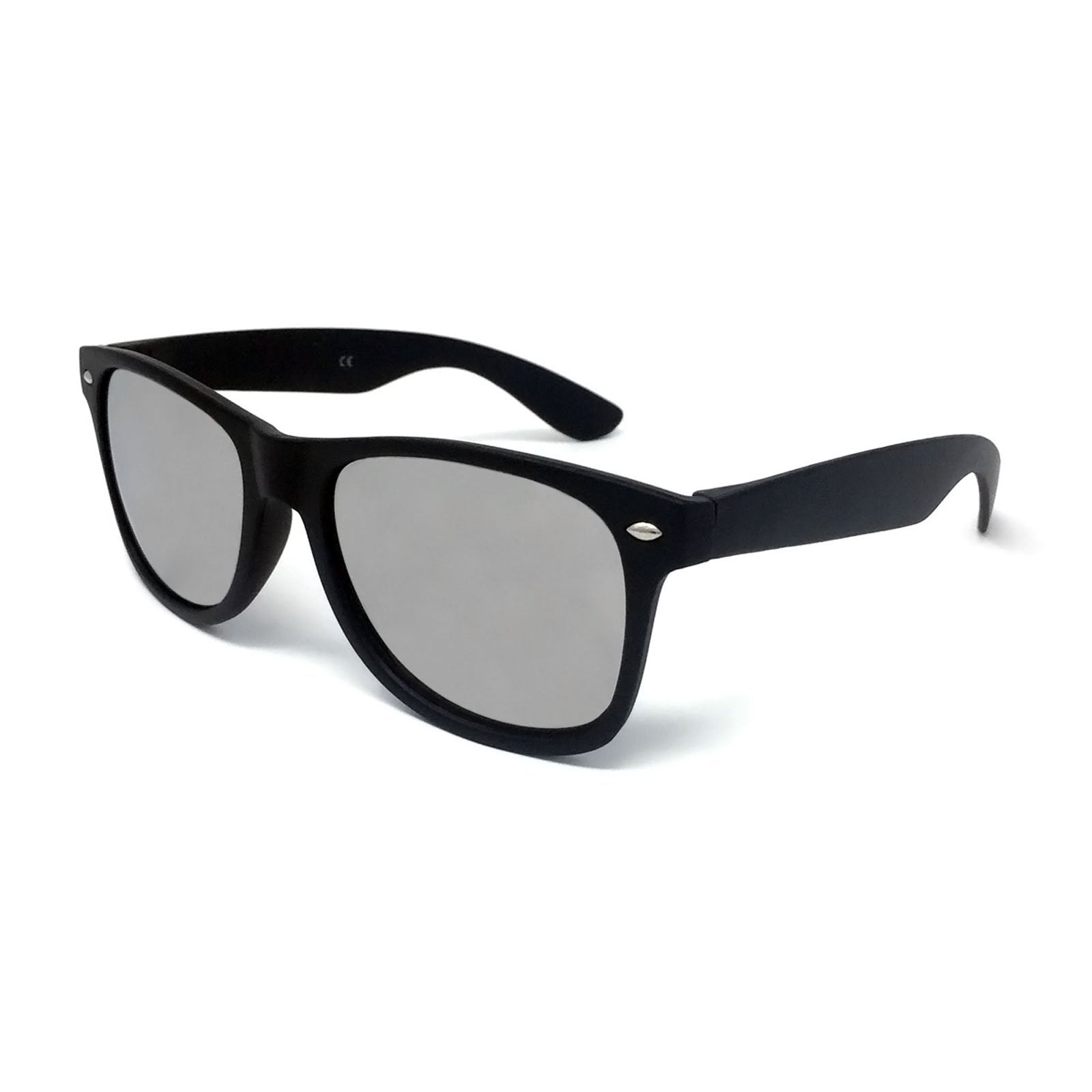 Wholesale Classic Sunglasses - Matte Black Frame, Silver Mirrored Lens