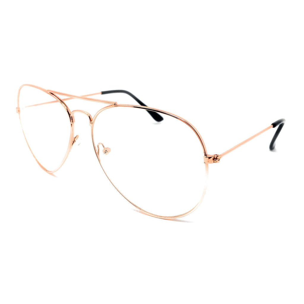 Wholesale Metal Frame Classic Clear Lens Glasses - Rose Gold Frame