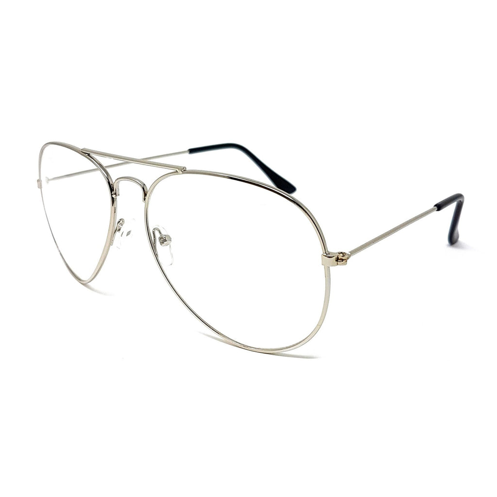 Wholesale Metal Frame Classic Clear Lens Glasses - Silver Frame