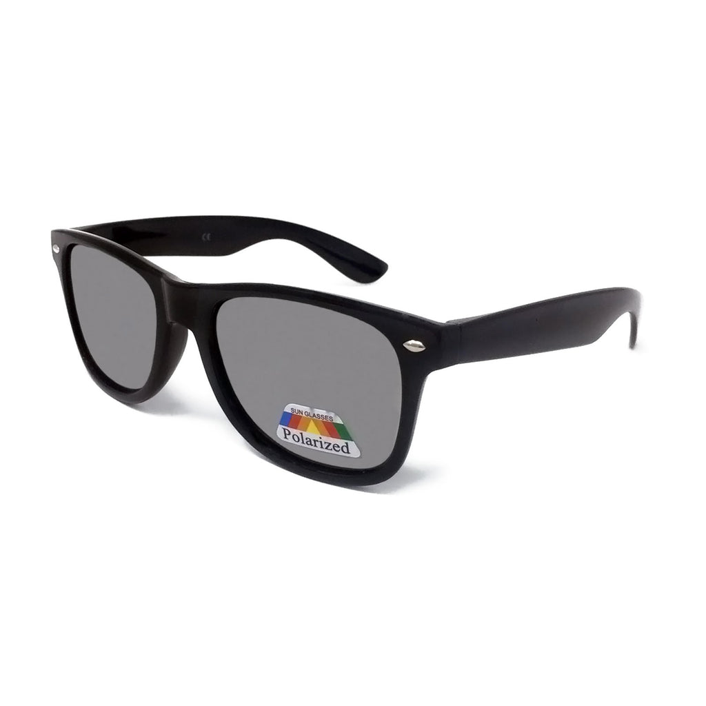 Polarised Classic Sunglasses - Black Frame with Silver Mirrored Lens