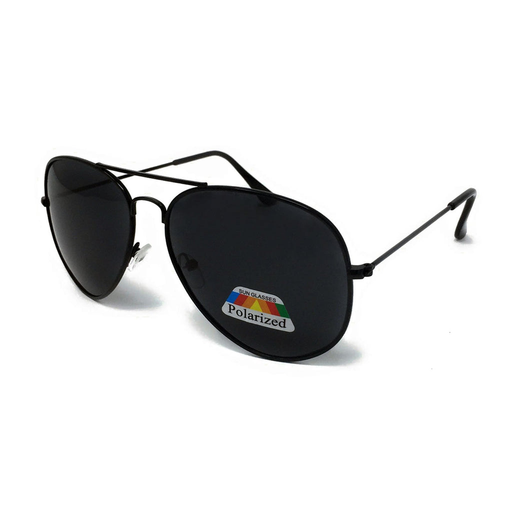 Kids Polarised Metal Frame Classic Sunglasses - Black Frame, Black Lens