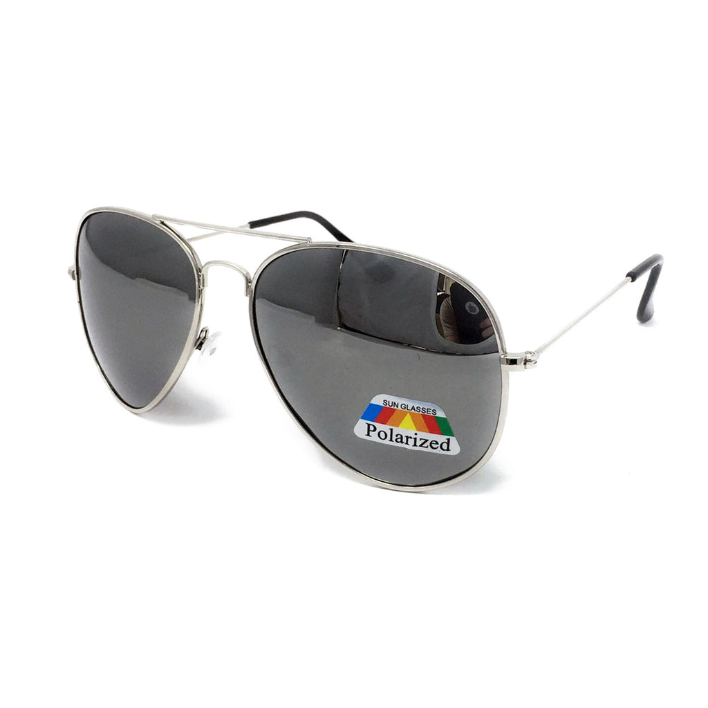 Kids Polarised Metal Frame Classic Sunglasses - Silver Frame, Silver Mirrored Lens