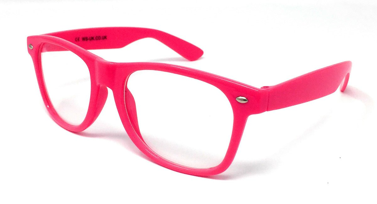 Wholesale Classic Clear Lens Glasses - Hot Pink Frame
