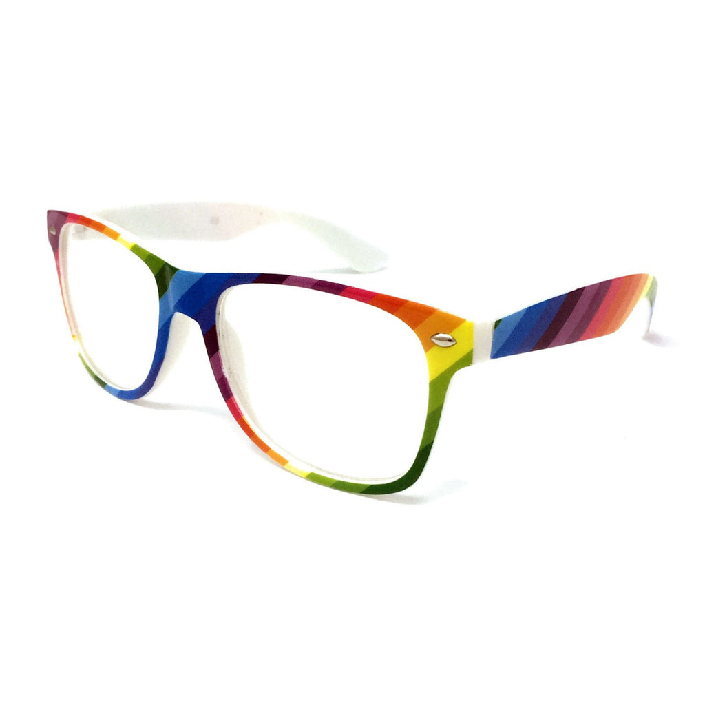 Wholesale Kids Classic Clear Lens Glasses - Rainbow Frame