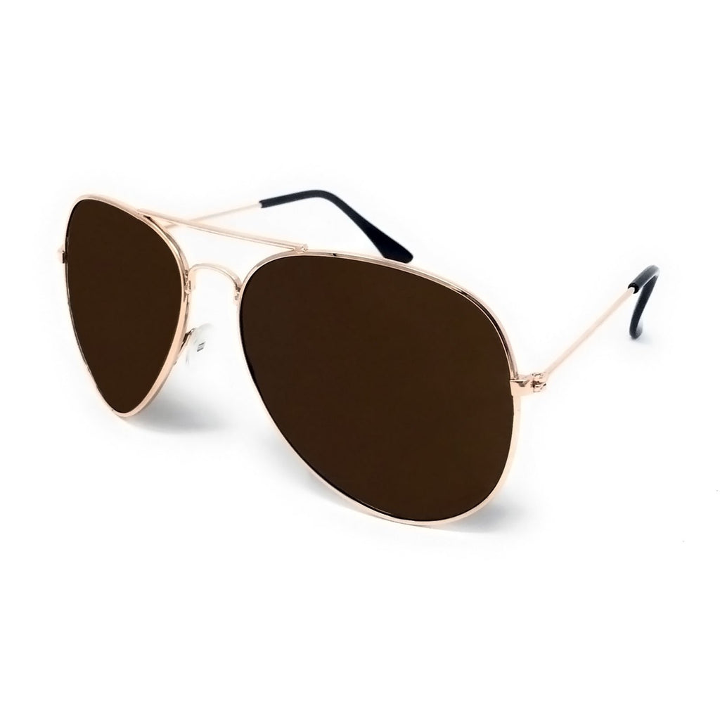 Wholesale Metal Frame Classic Sunglasses - Gold Frame, Brown Lens