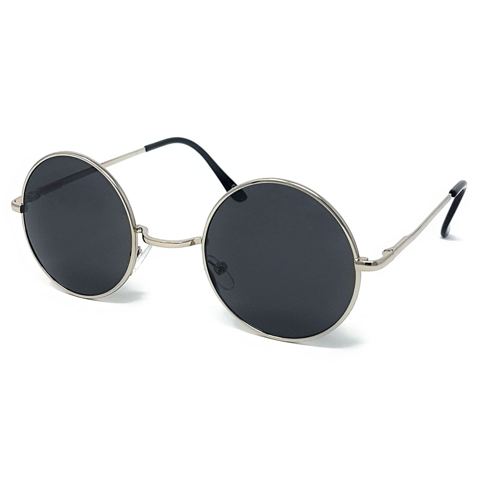 Wholesale Round Lens Sunglasses - Silver Frame, Black Lens