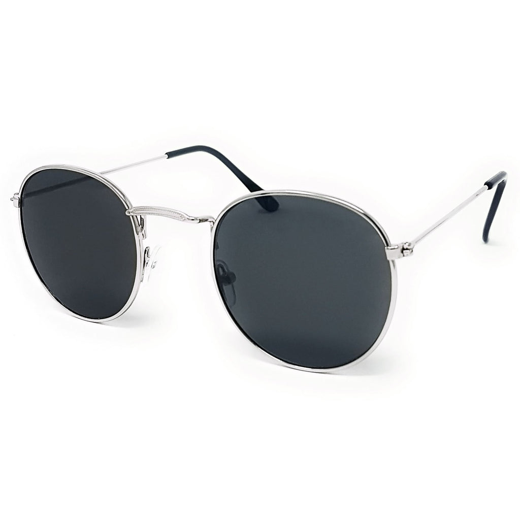 Wholesale Flat Top Round Lens Sunglasses - Silver Frame, Black Lens