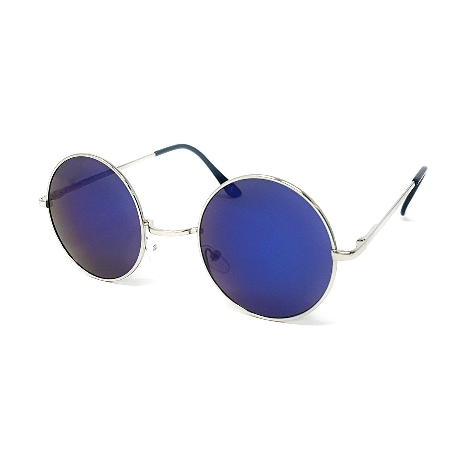 Wholesale Round Lens Sunglasses - Silver Frame, Blue Mirrored Lens