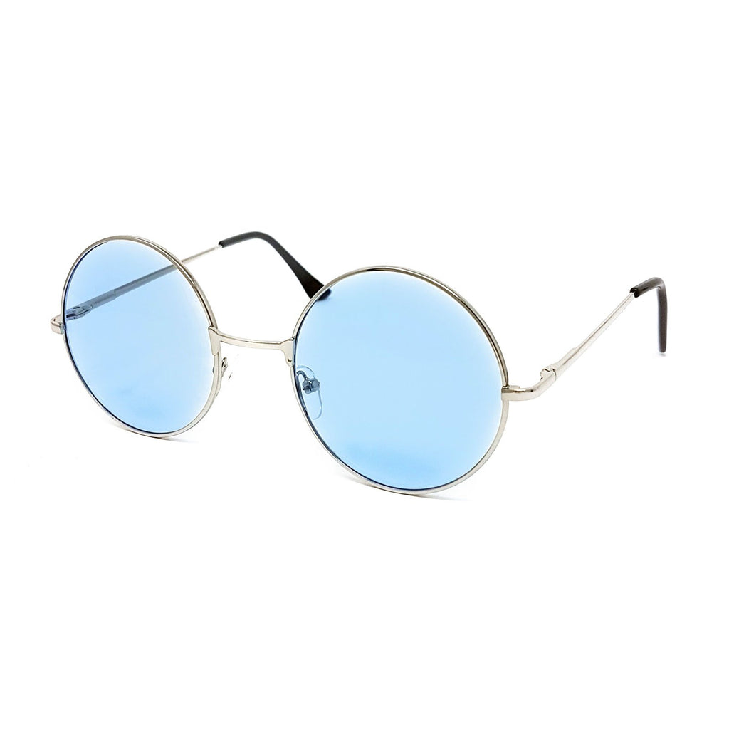 Wholesale Round Lens Sunglasses - Silver Frame, Light Blue Tint Lens