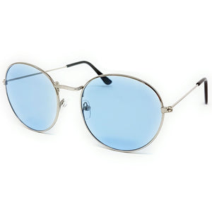 Wholesale Flat Top Round Lens Sunglasses - Silver Frame, Light Blue Tint Lens