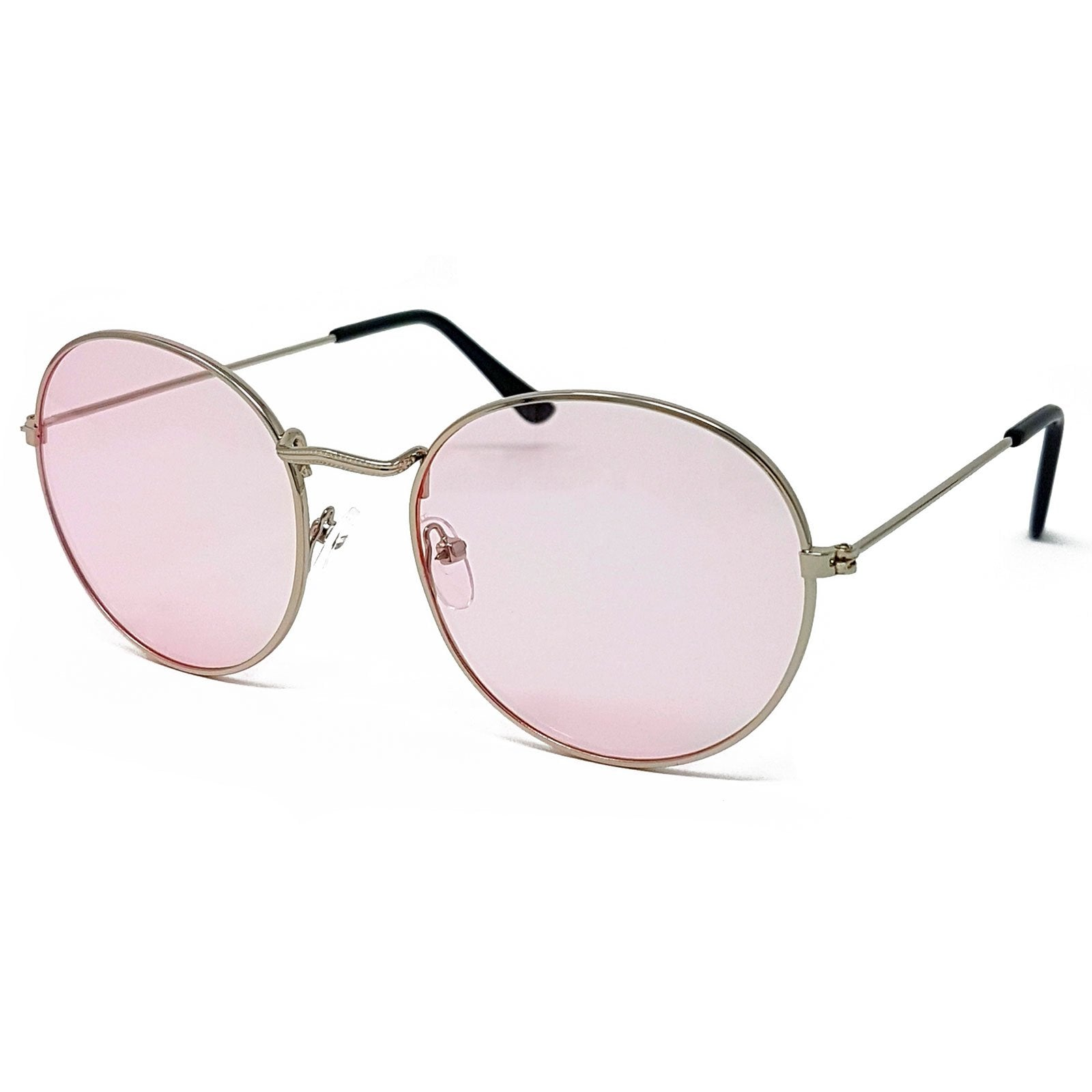 Wholesale Flat Top Round Lens Sunglasses - Silver Frame, Light Pink Tint Lens