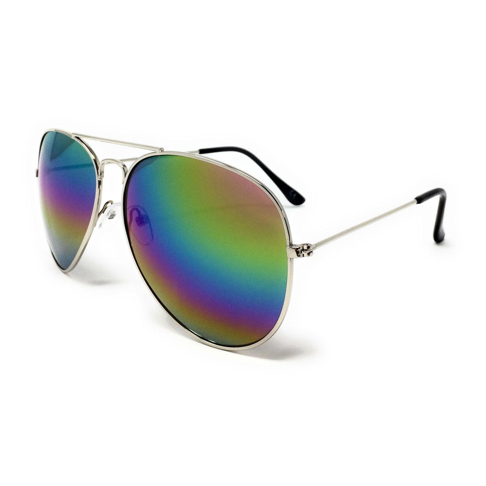 Wholesale Metal Frame Classic Sunglasses - Silver Frame, Rainbow Mirrored Lens