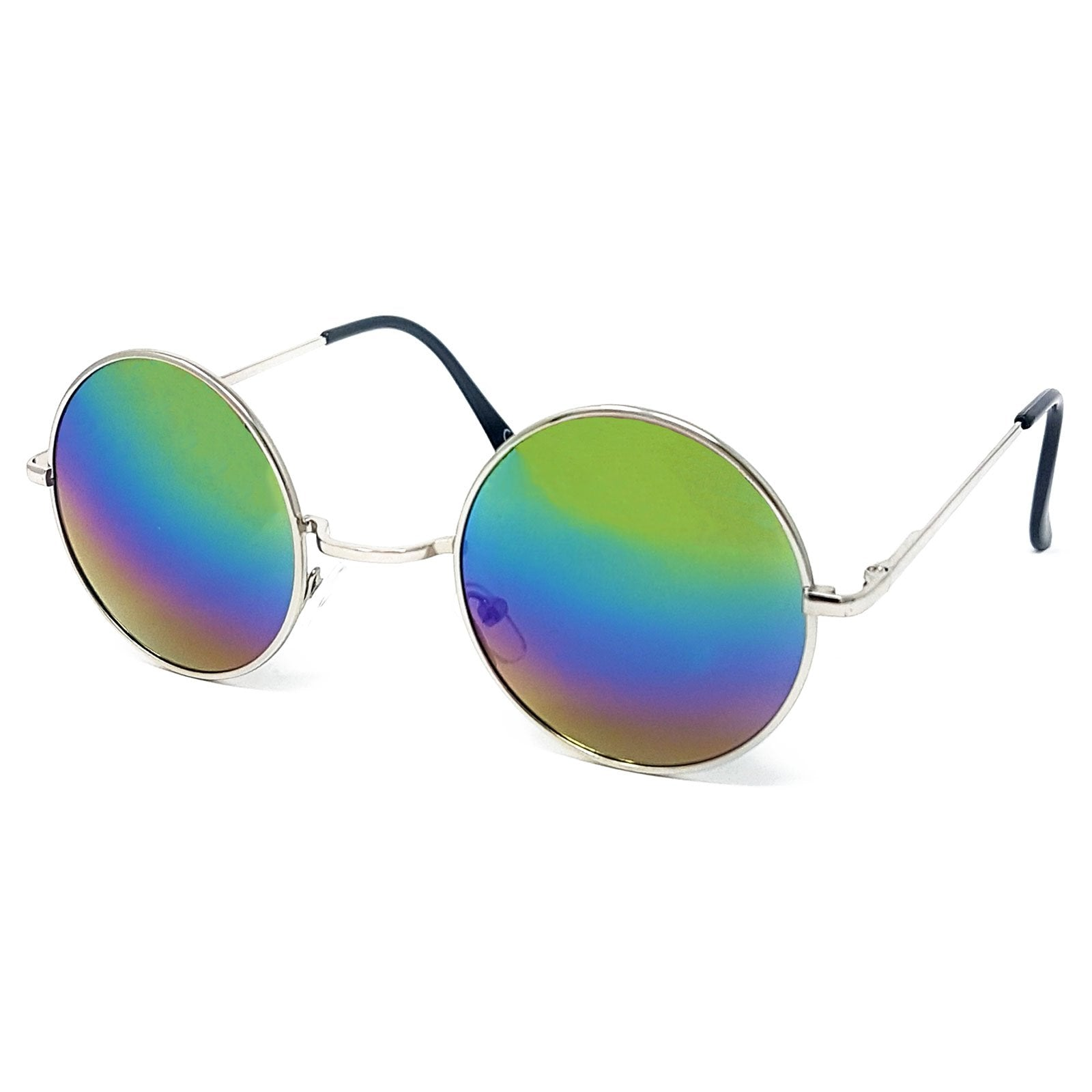 Wholesale Round Lens Sunglasses - Silver Frame, Rainbow Mirrored Lens