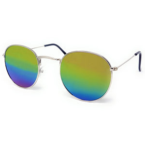 Wholesale Flat Top Round Lens Sunglasses - Silver Frame, Rainbow Mirrored Lens