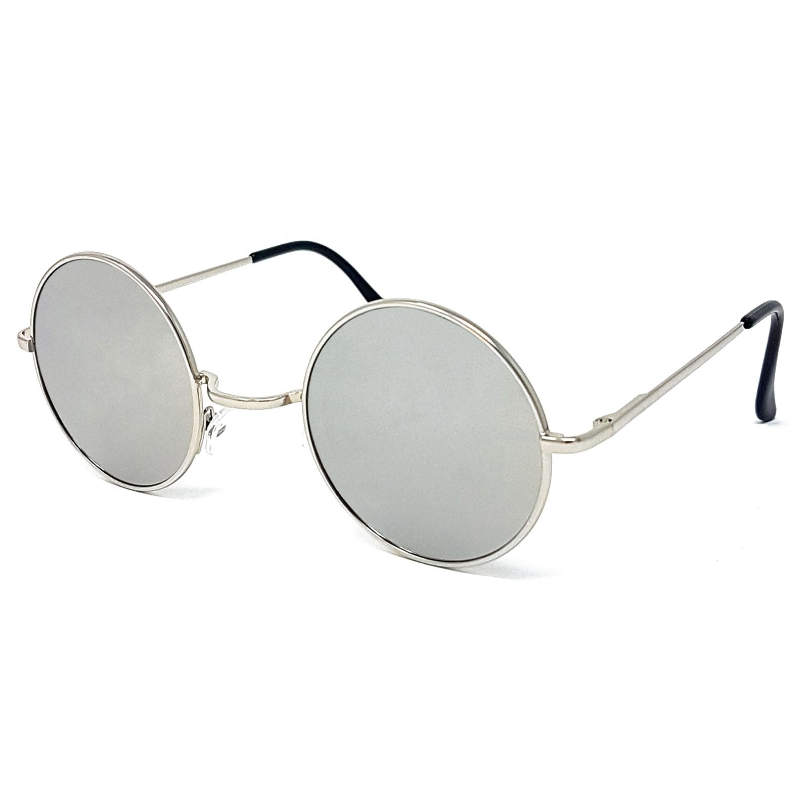 Wholesale Round Lens Sunglasses - Silver Frame, Silver Mirrored Lens