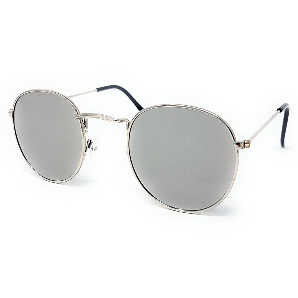Wholesale Flat Top Round Lens Sunglasses - Silver Frame, Silver Mirrored Lens
