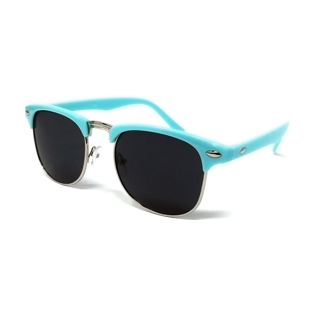 Wholesale 1950s Half Rim Sunglasses - Sky Blue Frame, Black Lens