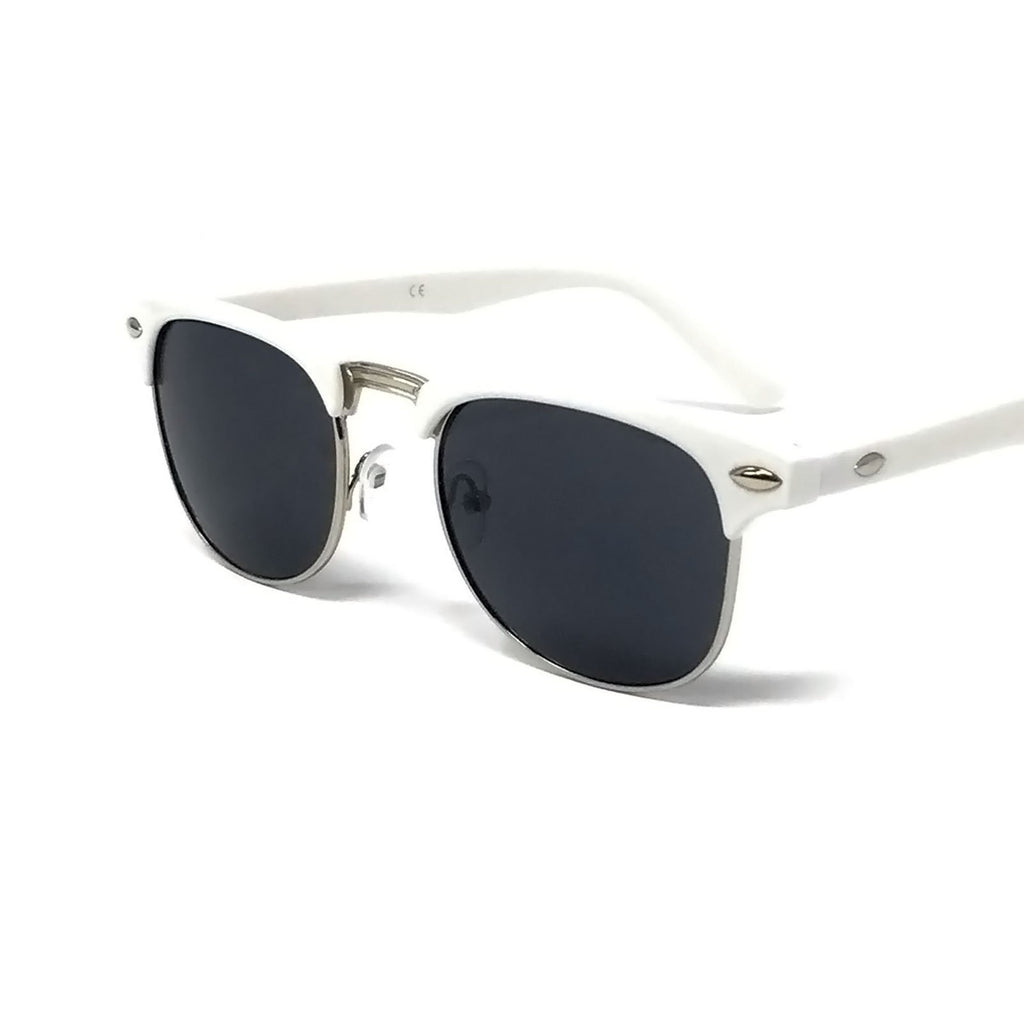 Wholesale 1950s Half Rim Sunglasses - White Frame, Black Lens