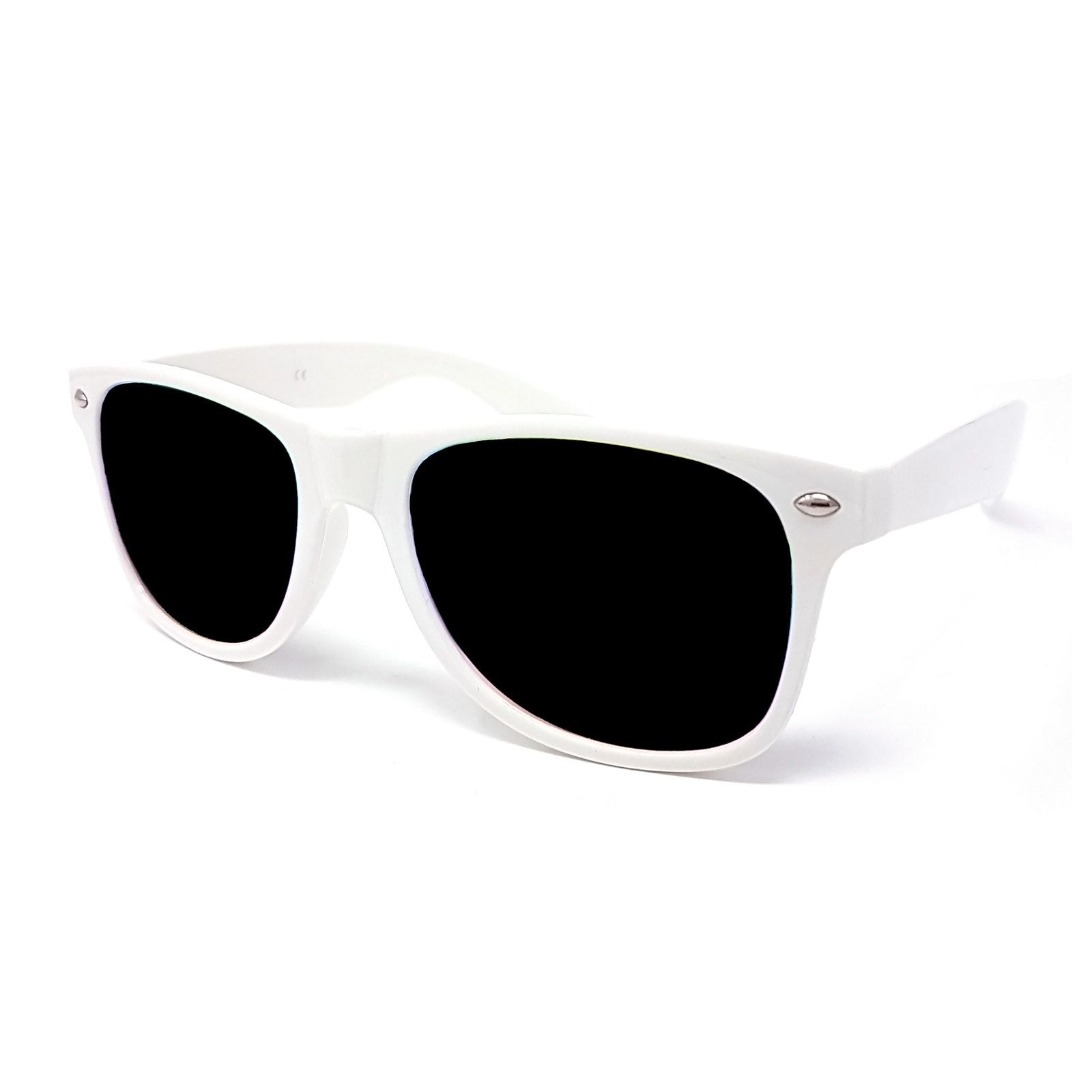 Wholesale Classic Sunglasses - White Frame, Black Lens