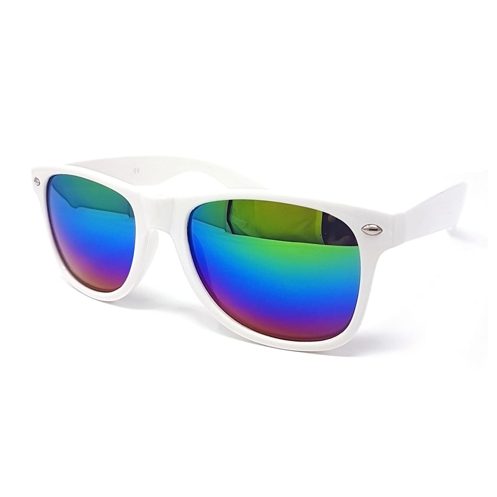 Wholesale Classic Sunglasses - White Frame, Rainbow Mirrored Lens