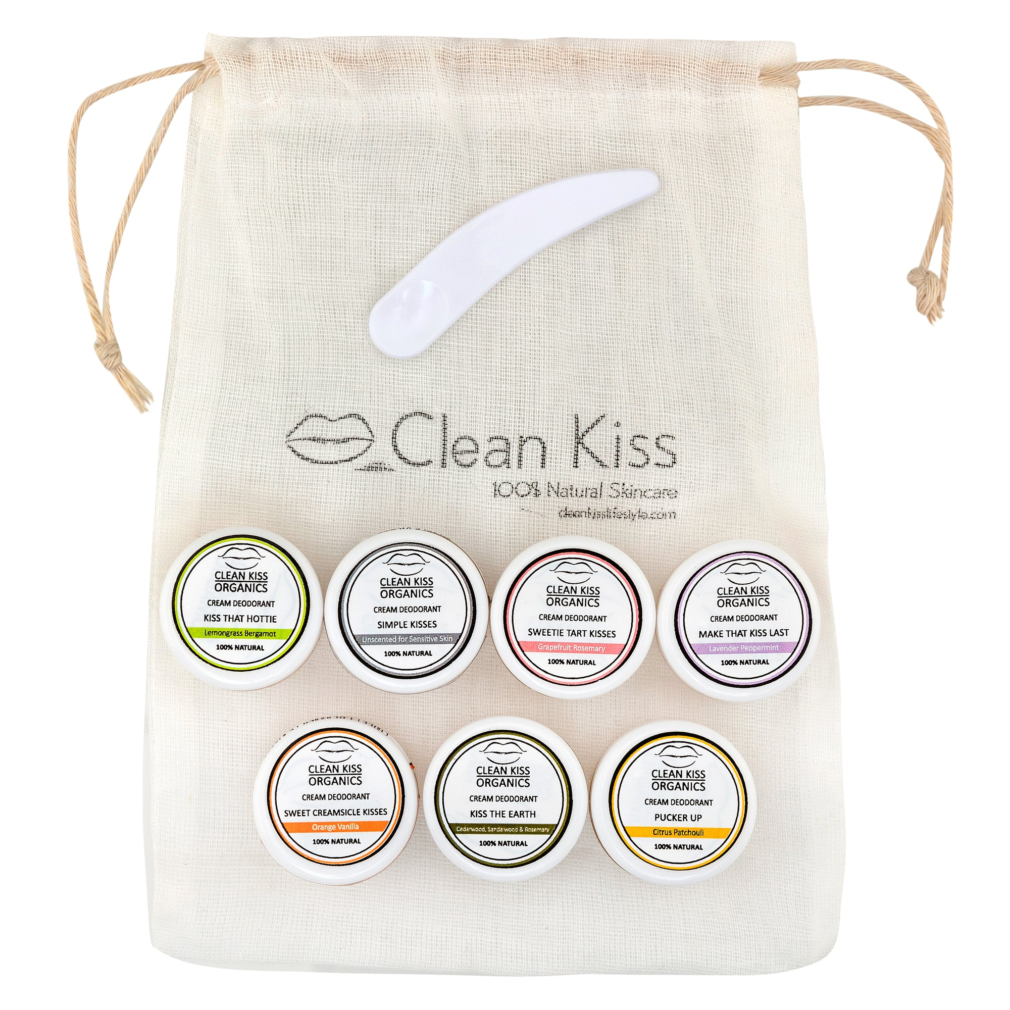 Clean Kiss natural deodorant 7 piece mini sampler set