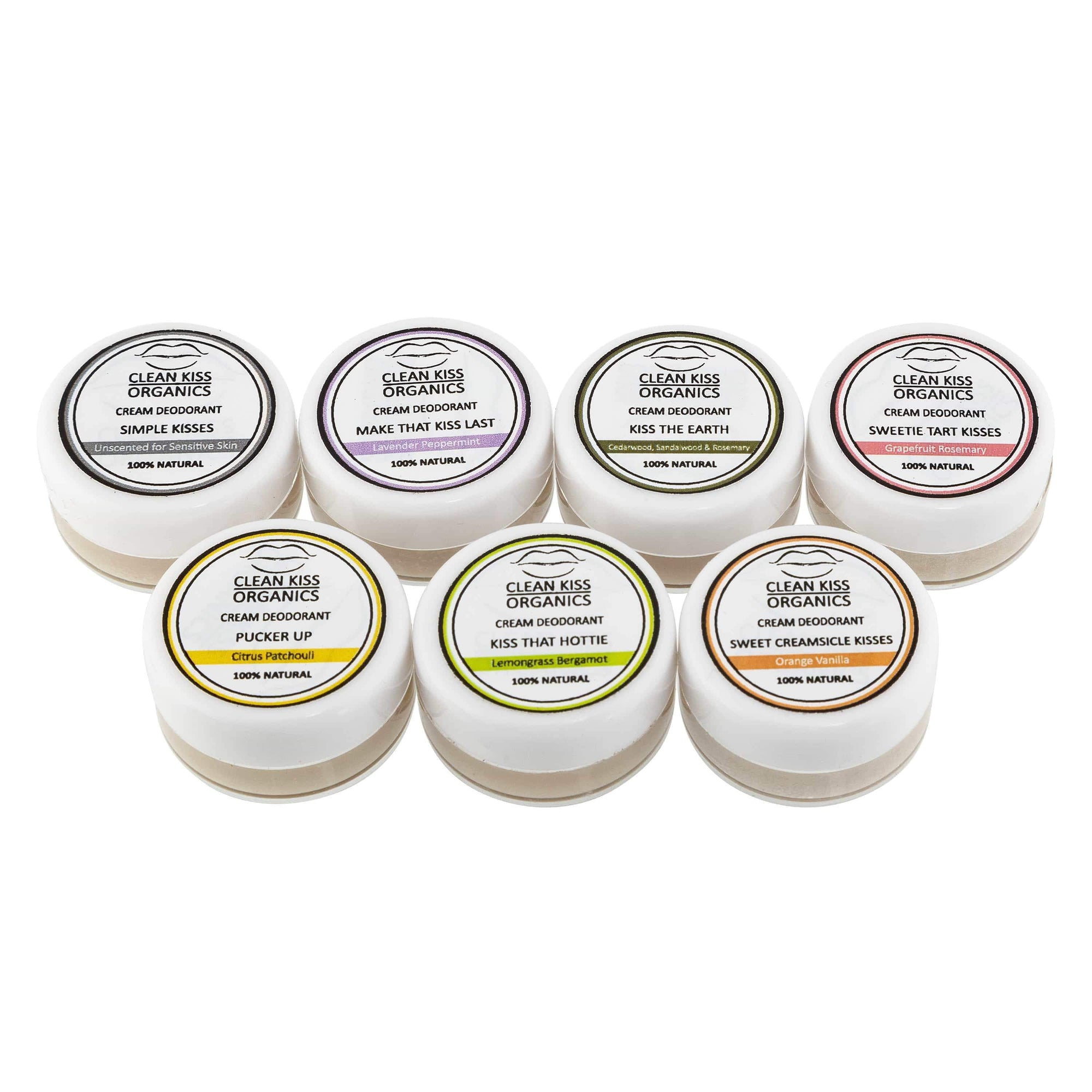 Natural deodorant 7-piece sample set to try all our scents