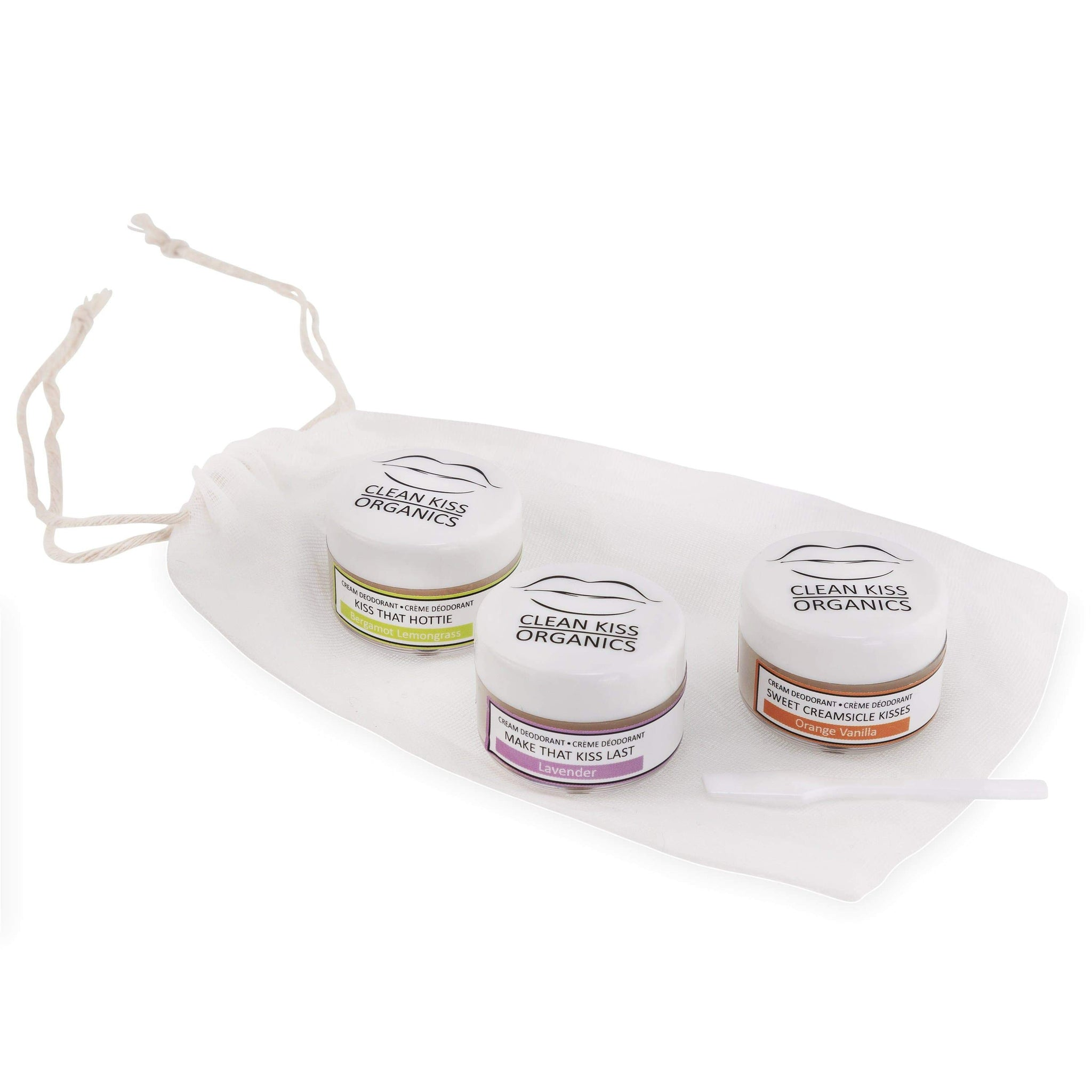 Natural deodorant travel set of our best selling scents in a hemp cotton bag