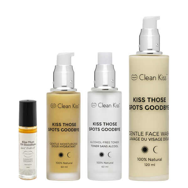 Kiss Those Spots Goodbye Acne Skincare set to naturally heal acne prone skin.