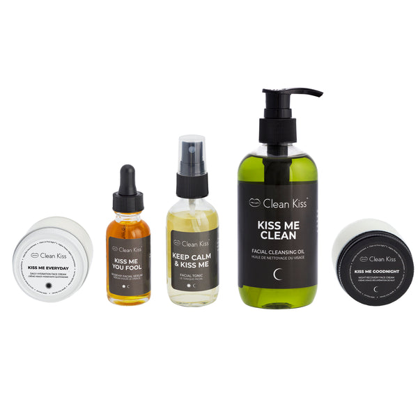 6 piece premium skincare set includes hemp cotton bag for travel and all essentials for day and night