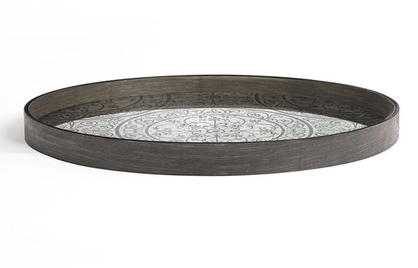 Moroccan Frost Mirror Round Tray by Ethnicraft.