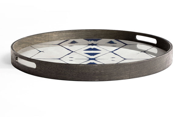 Tribal Hexagon Glass Round Tray by Ethnicraft.
