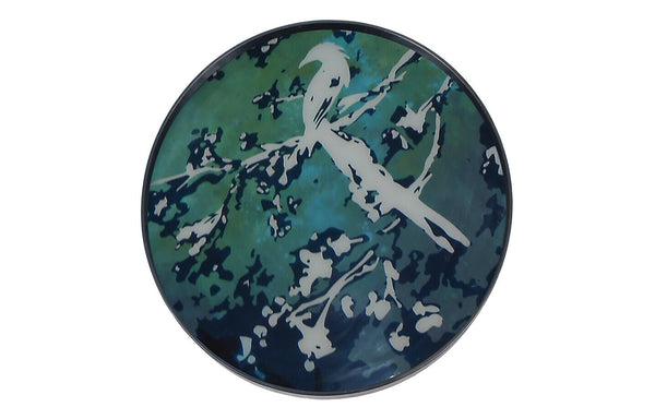 Birds of Paradise Glass Round Tray by Ethnicraft.